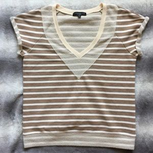 Sanctuary Striped Top Women's Size Small Tan/Ivory